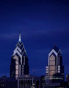 nighttime skyline view of Liberty Place in Philadelphia