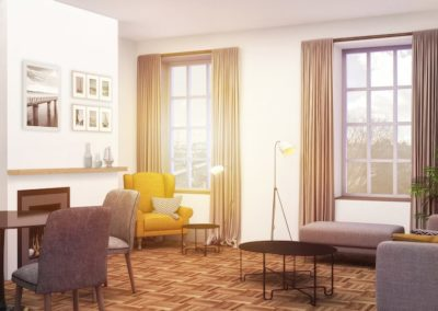 Bright apartment living room in Old City Philadelphia at Waterfront II