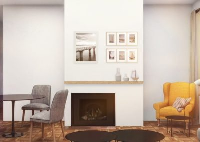Apartment living room with fireplace in Old City Philadelphia at Waterfront II